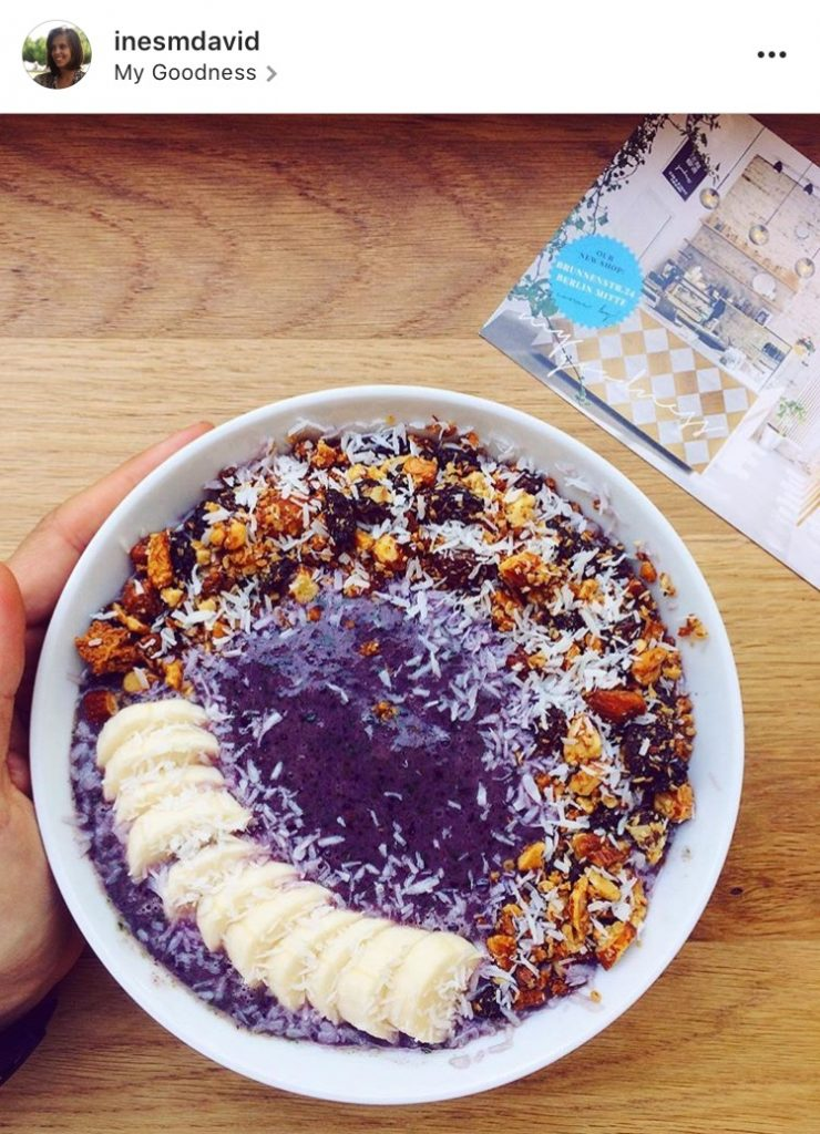 @inesmdavid Instagram blueberry smoothie bowl